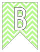 Letter Number Pennants Flags - Word Wall - Chevron Green