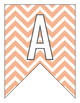 Letter Number Pennants Flags - Word Wall - Chevron Orange
