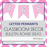 Letter Number Pennants Flags - Word Wall - Chevron Pink