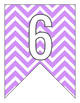 Letter Number Pennants Flags - Word Wall - Chevron Purple