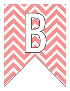 Letter Number Pennants Flags - Word Wall - Chevron Rose Pink