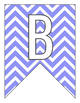 Letter Number Pennants Flags - Word Wall - Chevron Violet