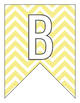 Letter Number Pennants Flags - Word Wall - Chevron Yellow