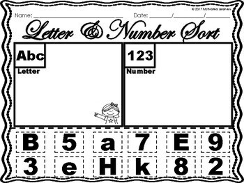 Letter Number Sort (Uppercase & Lowercase Sort) 1-20 Number Sort