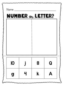 Letter, Number or Word Sort Packet