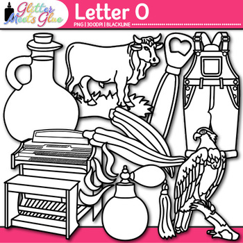 Letter O Alphabet Clip Art {Teach Phonics, Recognition, and Identification} B&W