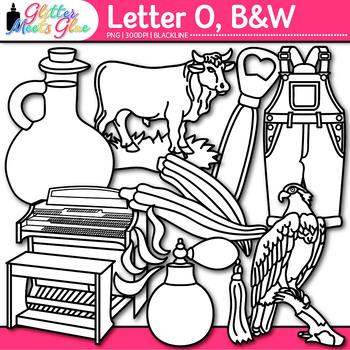 Letter O Alphabet Clip Art | Teach Phonics, Recognition, & Identification | B&W