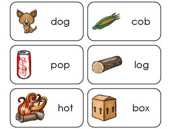 Letter 'O' CVC Picture and Word Printable Flashcards. Preschool-Kindergarten ELA