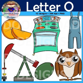 Letter O Clip Art (Overalls, Owl, Oven, Oil Pump, Olive, Orange)
