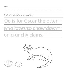 Letter O for Otter Handwriting Practice and Questions!