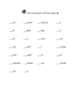 Letter O Kindergarten Fill in the Blank Sight Words