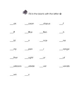 Letter O Kindergarten Fill in the Blank Sight Words