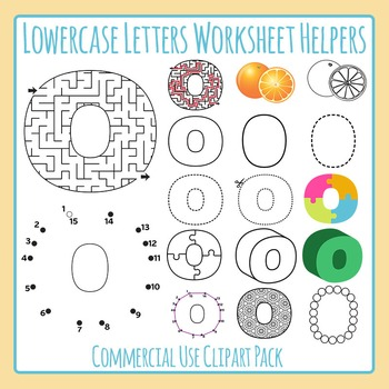 Letter O (Lowercase) Worksheet Helper Clip Art Set For Commercial Use