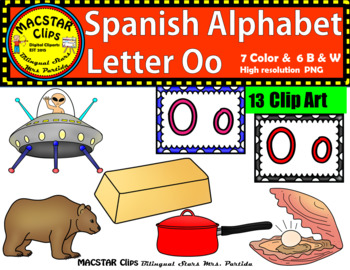Letter O o Spanish Alphabet Clip Art   Letra Oo Personal and Commercial Use