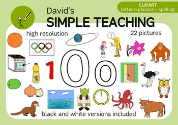 Letter O phonics - spelling clipart with free preview