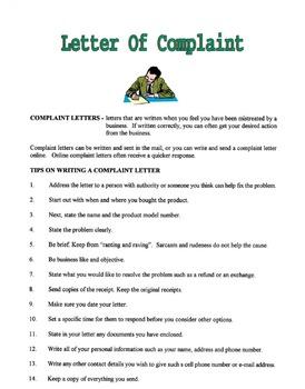 Letter Of Complaint Lesson