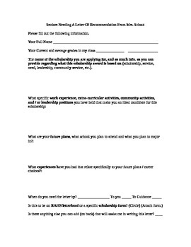 Letter Of Recommendation Info Sheet