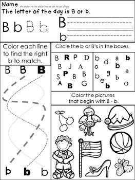 Letter Of The Day Worksheets