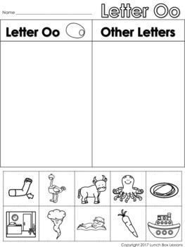 Letter Oo Beginning Sound Sort/Phonemic Awareness