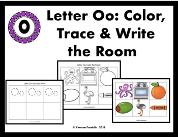 Letter Oo Color, Trace & Write the Room