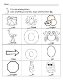 Letter Oo Words Coloring Worksheet