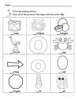 Letter Oo Words Coloring Worksheet