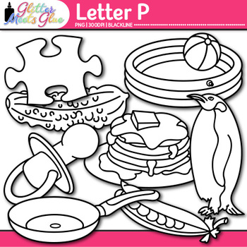 Letter P Alphabet Clip Art {Teach Phonics, Recognition, and Identification} B&W