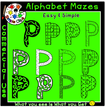 Letter P Alphabet Mazes - Simple / Easy - Commercial Use {Simple Clips}