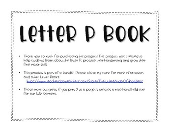 Letter P Book: Handwriting Practice