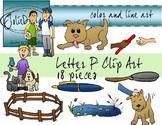 Letter P Clip Art - Color and Line Art 18 pc set