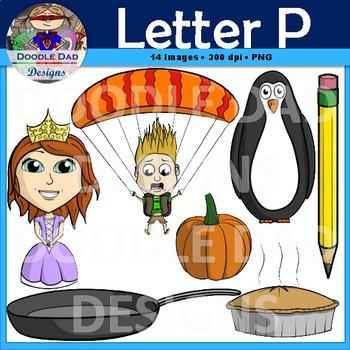 Letter P Clip Art (Princess Pencil, Penguin, Pie, Parachute, Pan, Pumpkin)