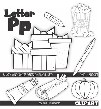 Letter P Color and Line Art ClipArt