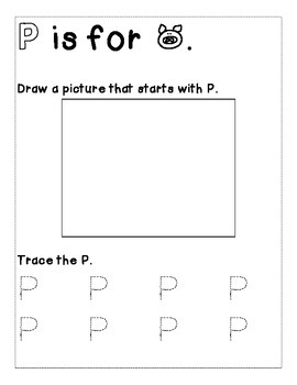 Letter P Color and Trace AlphaBook