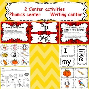 Letter P activities (emergent reader, word work worksheets, centers)