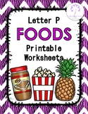 Letter P Foods Printable Worksheets