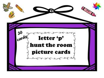 Letter P Hunt the Room Picture Cards- 36 photo cards