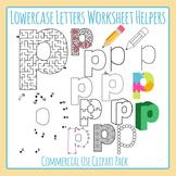 Letter P (Lowercase) Worksheet Helper Clip Art Set For Commercial Use