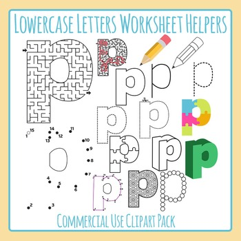 Letter P (Lowercase) Worksheet Helper Clip Art Set For Com