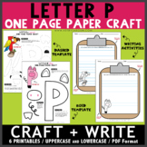 Letter P One Page Paper Crafts - Pig and Parrot