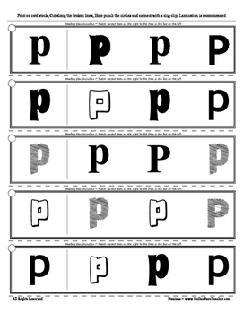 Letter P Reading Discrimination Strips for Fluency and Alphabet Recognition