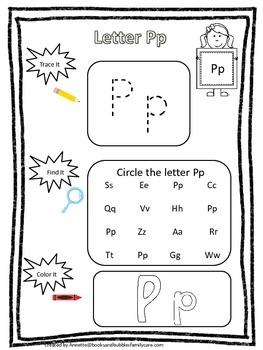 "Letter ""P"" Trace it, Find it, Color it.  Preschool printable worksheet. Daycare."