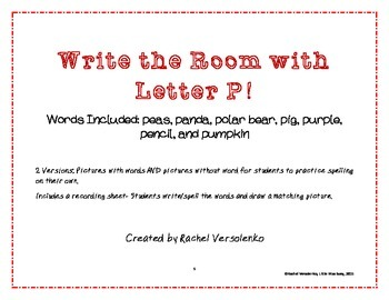 Letter 'P' Write the Room