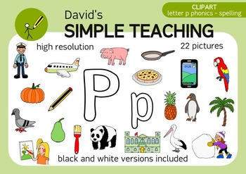 Letter P phonics - spelling clipart with free preview