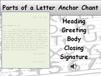 Letter Parts Song Writing Anchor Chart and Anchor Chant Audio - King Virtue