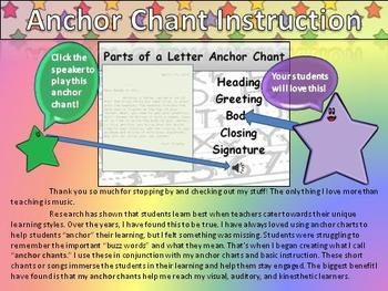 Letter Parts Song Writing Anchor Chart and Anchor Chant Au