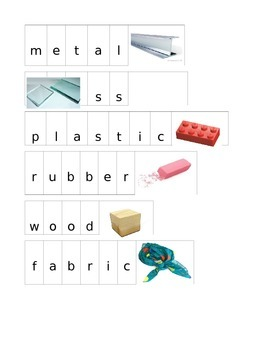 Letter Peg Cards Materials