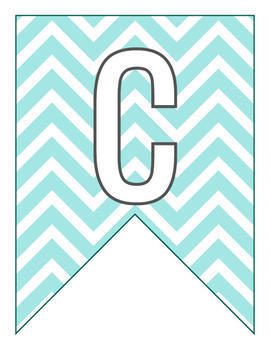 Letter Pennant Flags Word Wall - Chevron Teal Blue