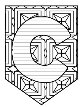 Letter Pennants - Doodle - Coloring - Displays