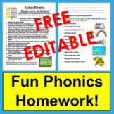 Letter Phonics Activities - Homework - Ready to Edit