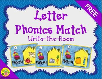 Letter Phonics / Beginning Sounds Match: Write the Room FREEBIE